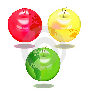 Apples With The Image Of Globe Royalty Free Stock Photos - Image: 18240668