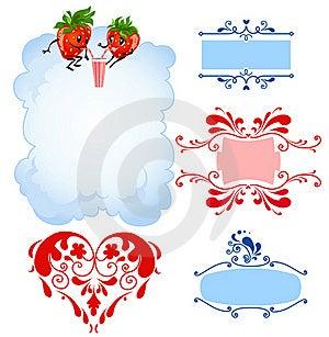 Cartoon Strawberry And Frames Royalty Free Stock Photo - Image: 18243175