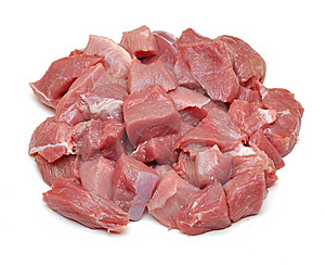Raw Fresh Meat Sliced In Cube Stock Images - Image: 18243604