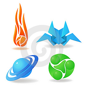 Set Of Abstract Symbols, Sphere, Flame, Green Royalty Free Stock Photos - Image: 18244858