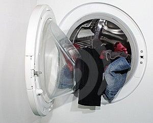 Laundry In Whashing Machine Stock Photo - Image: 18245580