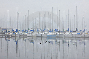 Foggy Sailboat Harbor Stock Photography - Image: 18246872