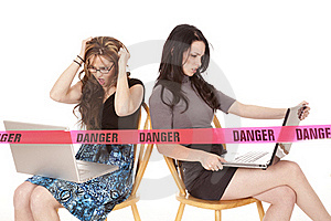 Two Women Computers Danger Royalty Free Stock Images - Image: 18247359