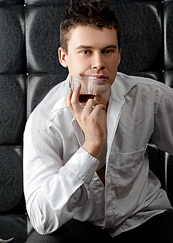 Pensive Man With Glass Of Whiskey Stock Photography - Image: 18249492