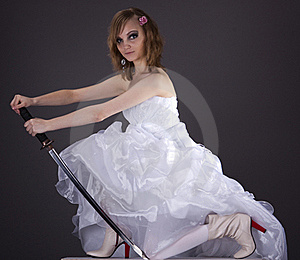 Portrait Of The Bride  With A Samurai Sword Stock Photography - Image: 18249592