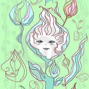 Vector File Of The Hand Drawn Girl-flower And Rose Stock Photography - Image: 18259422