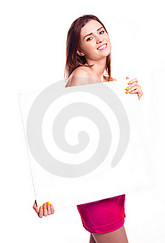 Woman Holding  Board Stock Images - Image: 18259624