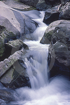 Small Mountain Stream Falls Stock Photo - Image: 18261640