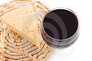 Red Wine Glass With Cheese Stock Photos - Image: 18270723
