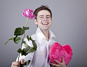 Funny Men With Rose And Toy Heart. Stock Images - Image: 18271454