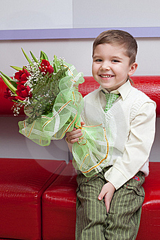 Funny Boy With Flowers Stock Photos - Image: 18272413