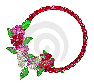 Red Glitter Floral Circle Frame Stock Photos - Image: 18275373