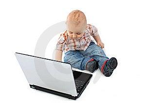 Baby Boy Using A Laptop Stock Image - Image: 18277031