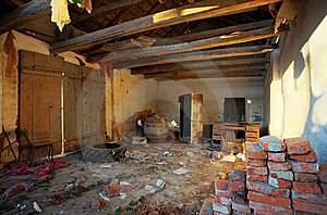 Ruined House Interior Royalty Free Stock Images - Image: 18280369