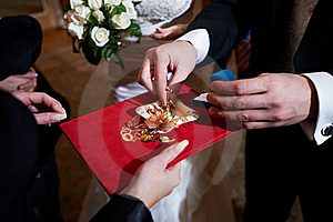 Groom And Wedding Rings On Ceremony Of Marriage Stock Image - Image: 18281181