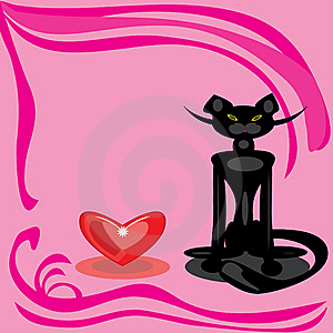 Black Cat And Heart On A Pink Background. Royalty Free Stock Images - Image: 18282999
