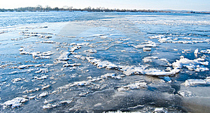 Big Chunk Of Ice On Frozen River Stock Photo - Image: 18284000