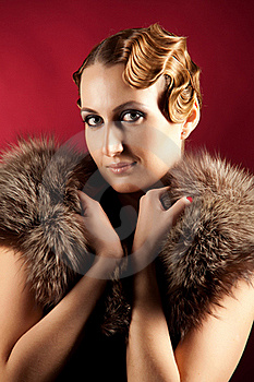 Portrait Of Woman With Fur Royalty Free Stock Images - Image: 18284279
