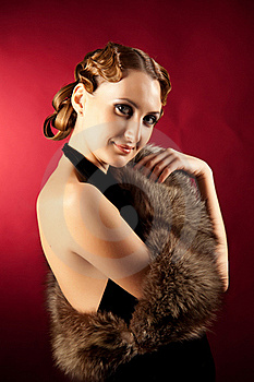 Shot Of Woman In Classic Style With Fur Royalty Free Stock Photo - Image: 18284305