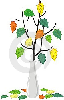 Branch In Vase And Fallen Down Leaves Royalty Free Stock Photos - Image: 18284798