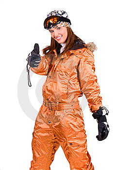 Woman With A Snowboard Royalty Free Stock Photo - Image: 18285865