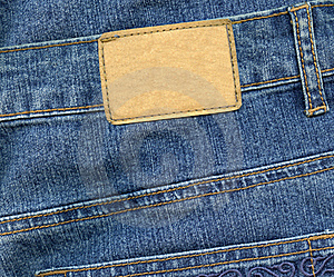 Blank Leather Label On Jeans Stock Photo - Image: 18286040