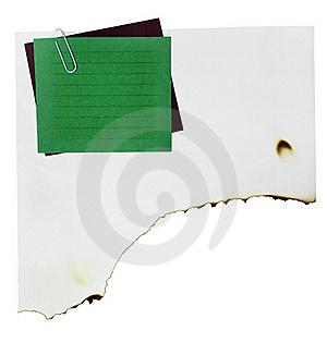 Note Paper And Paper Clip On White Paper Burn Stock Photography - Image: 18288312