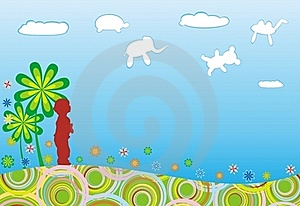 Baby And Spring Cloud Stock Photo - Image: 18290330