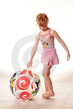 Cute Little Girl In Pink Swimsuit Stock Photos - Image: 18290513