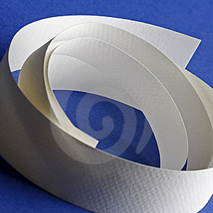 Round White Textured Paper Strips On Blue Stock Photography - Image: 18290752