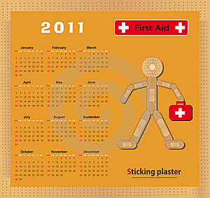 Calendar 2011 Sticking Plaster Figure Stock Images - Image: 18291044
