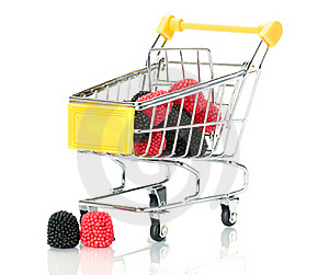 Raspberry Blackberry Fruit In The Shopping Cart Royalty Free Stock Photography - Image: 18291447