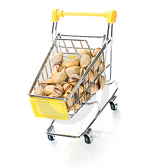 Pistachios In The Shopping Cart Royalty Free Stock Photos - Image: 18291458