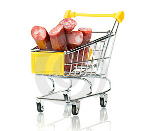 Salami Sausage In The Shopping Cart Royalty Free Stock Photography - Image: 18291467