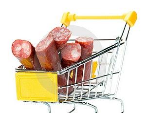 Salami Sausage In The Shopping Cart Stock Photos - Image: 18291473