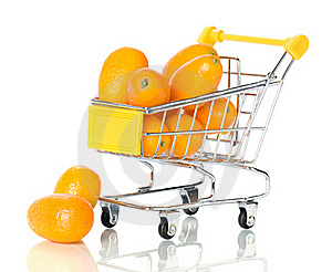 Tangerine In The Shopping Cart Royalty Free Stock Image - Image: 18291476