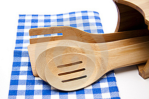Cook Spoon With Tablecloth Stock Photo - Image: 18294710