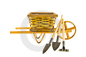 The Cart  With Garden Tools Isolated Over White Royalty Free Stock Images - Image: 18296939