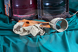 Old Objects,lanterns,flippers ,underwater Mask Stock Images - Image: 18299954