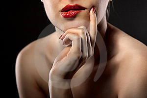 Thoughtful Woman On Black Stock Photography - Image: 18301052