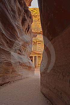 Magical Sunrise At The Treasury. Petra, Jordan Royalty Free Stock Photo - Image: 18302025