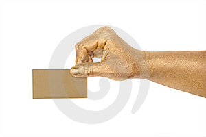Man's Golden Hand Holding An Empty Business Card Royalty Free Stock Photo - Image: 18314185