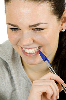 Woman With Pen Royalty Free Stock Photos - Image: 18315988