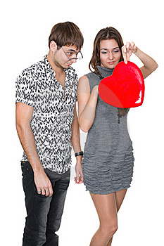 Funny Nerd Guy Gives A Valentine Glamorous Girl Royalty Free Stock Image - Image: 18316746