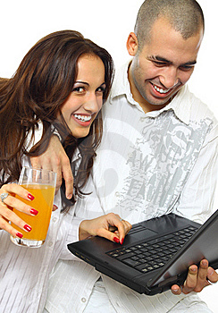 Couple With Laptop Stock Photography - Image: 18321952
