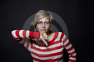 Woman Showing Thumb Down Stock Image - Image: 18323101