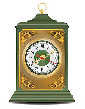 Bronze And Green Antique Clock, Vector Royalty Free Stock Photo - Image: 18323265