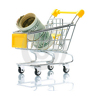 Dollars In The Shopping Cart Stock Photo - Image: 18323340