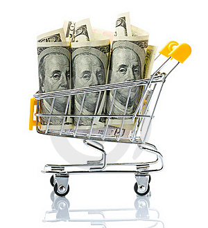 Dollars In The Shopping Cart Stock Photos - Image: 18323353