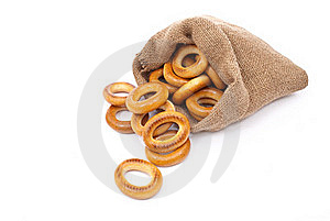 Burlap Sack With Bagels Royalty Free Stock Photos - Image: 18324608